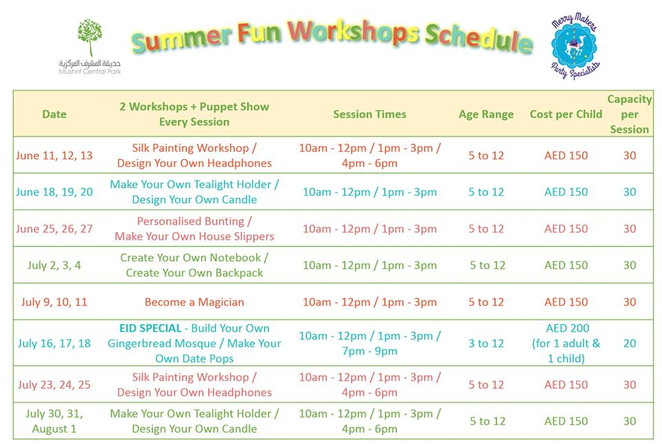Merry Makers Summer schedul - The Summer Workshops for Kids